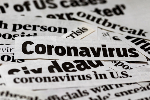 corona virus newspaper cut outs
