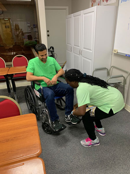 Training to assist a patient with a wheelchair